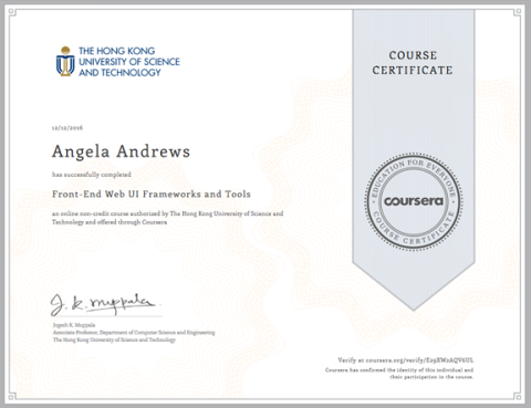Front-End Web UI Frameworks and Tools Certificate