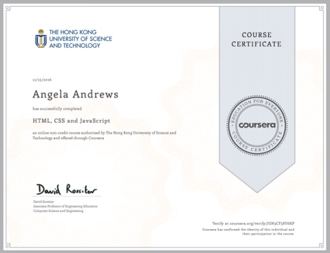 HTML, CSS and JavaScript Certificate